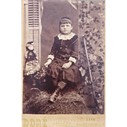 Antique Cabinet Card of Young Girl with Her Little Doll