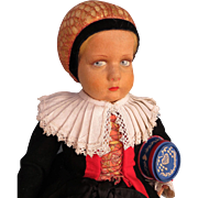 Italian Felt Lenci Doll Dressed in the Regional Costume of Castelrotto, Italy