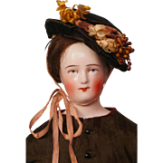 Early Schlaggenwald China Head Doll in Beautiful Outfit