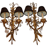 Pair of antique Tole Beaded Sconces