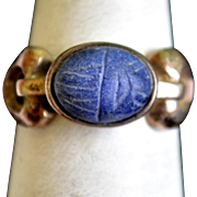 Sterling Silver Egyptial Revival Scarab Ring