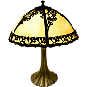 Large 1920's Carmel Slag Glass Lamp