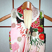 Japanese traditional pattern sleeveless kimono jacket for baby