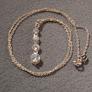 SALE Sterling Silver w/Gold Overlay Spectacular 5-Stone Genuine White Topaz Necklace, Very Chi