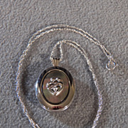 SALE Vintage Sterling Silver Cubic Zirconia Mother of Pearl Locket w/Lovely Abstract Heart ...