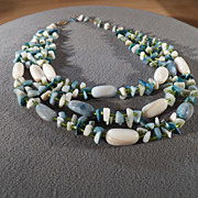 SALE Vintage Triple Strand Fascinating Glass Bead Necklace, A Magnificent Design!~~