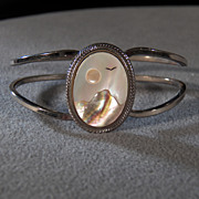 SALE Vintage Silver Tone w/Genuine Mother of Pearl & Abalone Shell Lovely Sky Scene, A ...