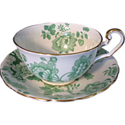 1920s Victoria Mandarin Chintz Cup and Saucer Green