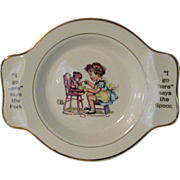 Childrens Dish Salem China Teddy Bear Girl 1940s