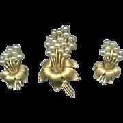 Trifari Demi Parure Brooch Earrings