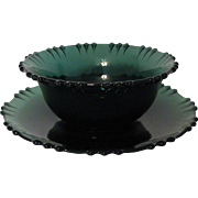 Tiffin Killarney Mayonnaise and Underplate Green Glass