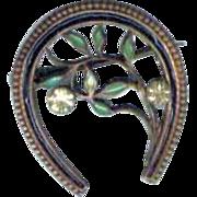 Vintage Horseshoe Brooch Enamel