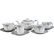 Vintage Shelley Art Deco Festoon Black Tea Set Demitasse.