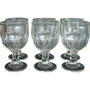 Antique EAPG McKee Honeycomb Diamonds Goblet Set of 6