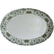 Antique Ironstone Transferware Platter Green Laurel T.R. Boote