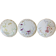Antique Limoges Flowers Plate Set of 3 Haviland Floral