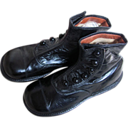 REDUCED PRISTINE  Antique Hi Top Button Black Leather Shoes 7 inches long_GREAT FOR BIG BEARS