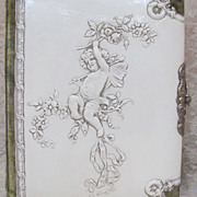 SOLD Thank you 'D'_Victorian Celluloid Photo Album_31 photos & tin type_embossed cherub with w