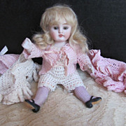 """SOLD Thank you 'A'_All Bisque 7"""" KESTNER #150_Brown Sleep Eyes_Pink ribbed stocking molde"""