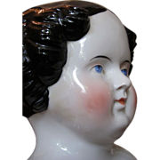 SOLD Thank you 'S'_Large Flat Top China Head Doll_Circa 1870's_