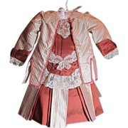 """SOLD Thank you 'X'_Stunning 2pc Pin Strip & Solid Fabric Silk Dress for 22"""" Bebe Doll"""
