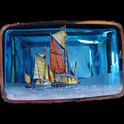 Peacock Blue Crystal Box Casket_Bohemian_Circa 1850-1870's_Enamel/painted Ships & Swags_