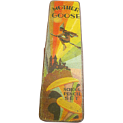 SALE Spooky Fun Circa 1940,s, Hinged Metal School Pencil Box, Mother Goose with Flying ...