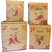 SALE SALE Set of 4 Hand Made Hand Painted Rooster Primitive Canisters