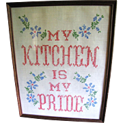 "SALE Homey Cross Stitch ""My Kitchen is My Pride"" Vintage Picture"