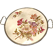 """SALE Max Dannhorn Antique Hand Decorated 12"""" Porcelain Handled Butlers Tray"""