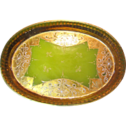SALE Beautiful Antique Venetian Chartreuse Opaline Glass Vanity Tray