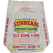 SALE Vintage Sunbeam Unused 2lb Paper Flour Bag Bishopville SC