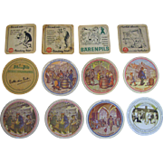 SALE Unusual Collection of 12 Vintage Advertising (German Beer) Coasters / Mats with Great Gra