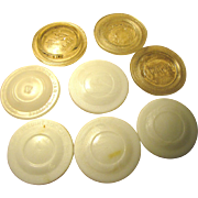 SALE Mixed Vintage Collection of 8 Old Clear and Milk Glass Canning Lids