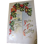 SALE Yule-Tide Greeting Embossed PostCard circa early 20th Century‏
