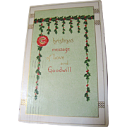 SALE 1910, Christmas Message of Love and Goodwill Postcard, postmarked Dec. 24,1910‏