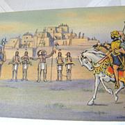 SOLD Coronado at Tiguex in 1540 scene near Bernalillo N.M. PostCard mid 20th century