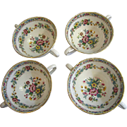 Beautiful Set of 4 Coalport Ming Rose Bullion Cups