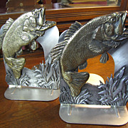 Nice Vintage USA made Metzke Pewter Large Mouth Bass Bookends