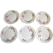 "SALE Beautiful Set of Six 9 1/4"" Plates by Homer Laughlin in the Virginia Rose Pattern"