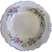 Lovely Rimmed Soup Plate in the Virgina Rose Pattern by Homer Laughlin