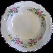 Lovely Rimmed Soup Plate in the Virgina Rose Pattern by Homer Laughlin
