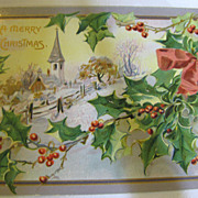 SALE 1911, A Merry Christmas Embossed Tuck Post Card