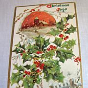 """SALE circa 1900, """"Christmas Joys"""" Tuck Embossed Post Card No. 100"""