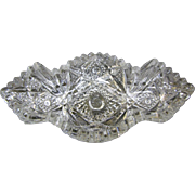 Imperial Pressed Nucut Patterned Glass Long Bowl - Early 1900's