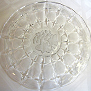 Stunning Large Vintage Etched Crystal Fruit or Cheese Platter