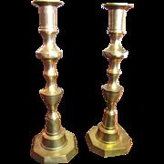 Sturdy and Festive Cast Brass Vintage Candlesticks