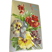 "SALE ""Birthday Greetings"" Blank Card. Lovely flowers circa 1920s"