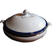 SALE Beautiful English 1920's Blue and White Gilt Large Tureen No 3