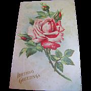 "SALE ""Birthday Greetings"" Embossed Rose, European Postcard, Circa 1910"